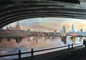 The man under bridge - olio su tela - 90x140 -2014