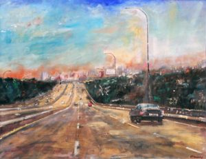 Towards Los Angeles - olio su tela - 70x50 - 2016