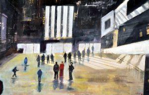 Visiting Tate Modern1 - olio su tela - 70x45 - 2017