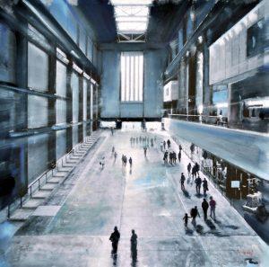 Visiting Tate Modern 2 - olio su tela - 50x50 - 2017